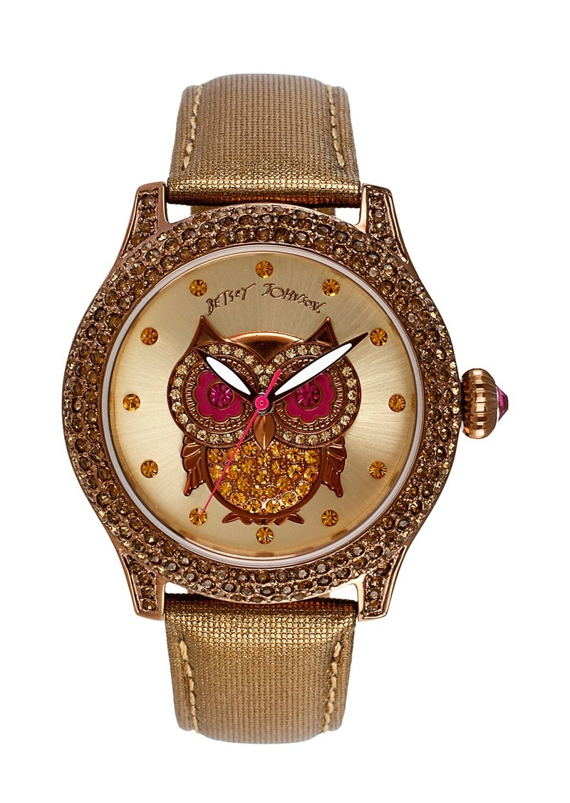 Betsey Johnson 'Bling Bling Time' Owl Dial Watch, 40mm