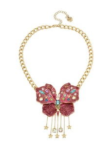 Betsey Johnson Blooming Crystal Butterfly Pendant Necklace