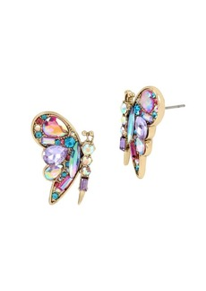 Betsey Johnson Blooming Crystal Colorful Butterfly Stud Earrings