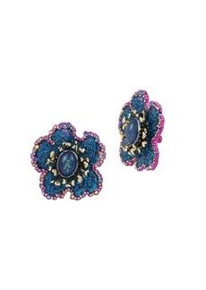 Betsey Johnson Blooming Crystal Flower Clip-On Earrings