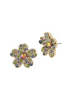 Betsey Johnson Blooming Multicolored Crystal Stone Flower Stud Earrings