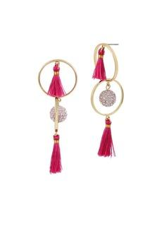 Betsey Johnson Boost Tassel Orbital Crystal Drop Earrings