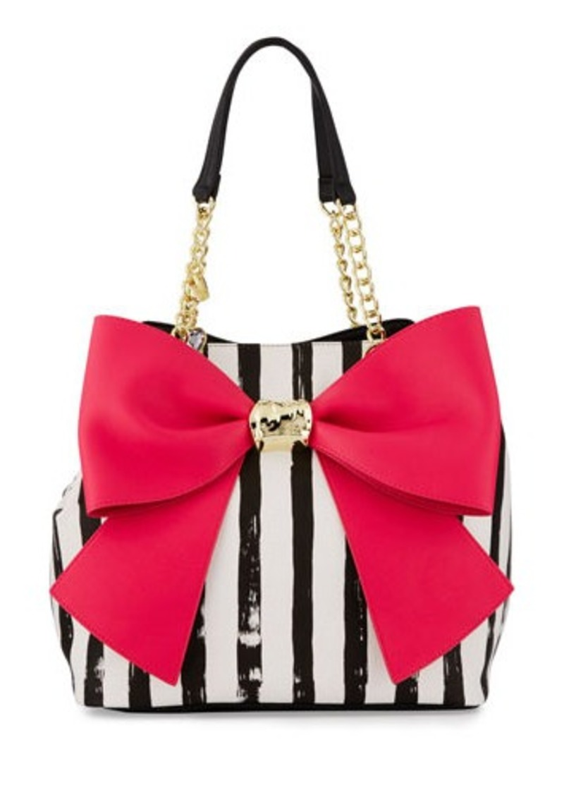 Betsey Johnson Betsey Johnson Bow And Arrow Striped Tote