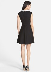 Betsey Johnson Bow Collar Stretch Jacquard Fit & Flare Dress