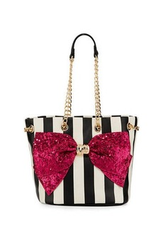 Betsey Johnson Bow-Lesque Sequined Drawstring Bucket Bag