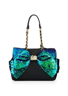 Betsey Johnson Bow-Lesque Sequined Satchel Bag