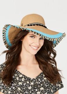 Betsey Johnson Braided Pom Pom Floppy Hat