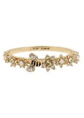 Betsey Johnson Bumble Bee & Mixed Flower Hinged Bangle Bracelet