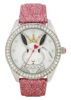 Betsey Johnson Bunny Rabbit Motif Dial & Pink Strap Watch