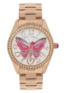 Betsey Johnson Butterfly Motif Dial Rose Gold Watch