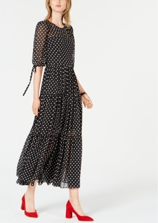 Betsey Johnson Chiffon Polka-Dot Maxi Dress