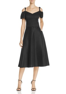 Betsey Johnson Cold-Shoulder Tea-Length Dress