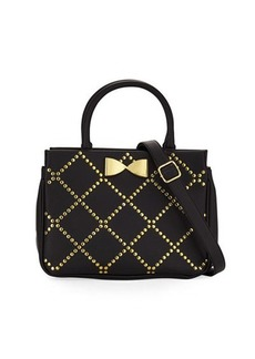 Betsey Johnson Crisscross Studded Satchel Bag