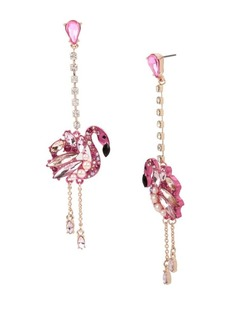 Betsey Johnson Critters Faux Pearl and Crystal Flamingo Linear Drop Earrings