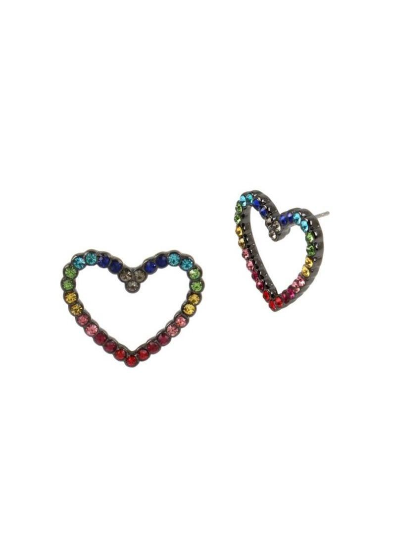 Betsey Johnson Crystal Heart Stud Earrings