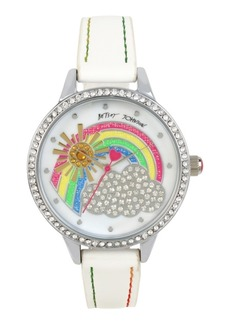 Betsey Johnson Crystal Rainbow Motif Dial Watch 39mm