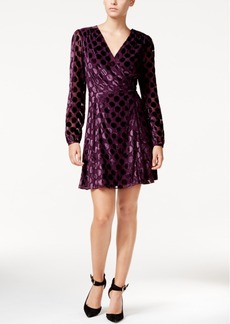 Betsey Johnson Dot-Print Illusion-Sleeve Wrap Dress
