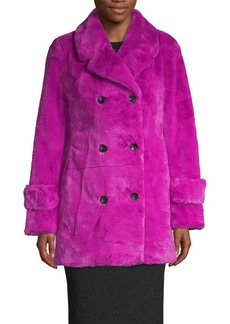 Betsey Johnson Double-Breasted Faux Fur Coat
