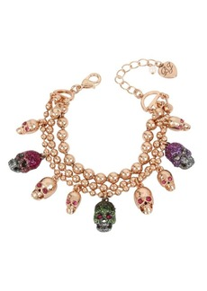 Betsey Johnson Duchess of Betseyville Crystal Multi-Row Charm Bracelet