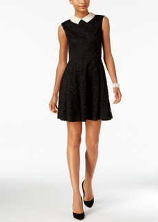 Betsey Johnson Embellished-Collar Lace A-Line Dress
