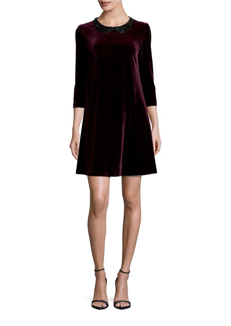 BETSEY JOHNSON Embellished Velvet Three Quarter Sleeve A-Line Dress