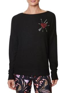 Betsey Johnson Embroidered Boatneck Sweatshirt