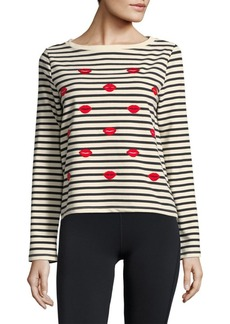 Betsey Johnson Embroidered Kiss Pullover