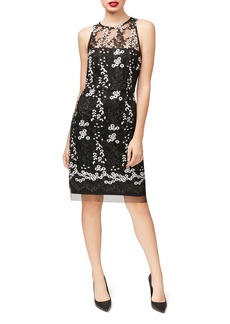 Betsey Johnson Embroidered Lace Sheath Dress