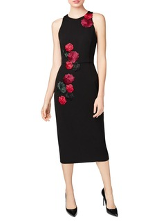 Betsey Johnson Embroidered Rose Scuba Midi Dress