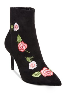 Betsey Johnson Estelle Pointed-Toe Embroidery Booties Women's Shoes