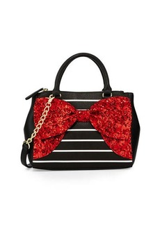 Betsey Johnson Fancy Bow Sequined Satchel Bag