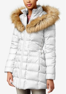 Betsey Johnson Faux-Fur-Trim Hooded Lace-Up Puffer Coat