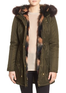 Betsey Johnson Faux Fur Trim Parka