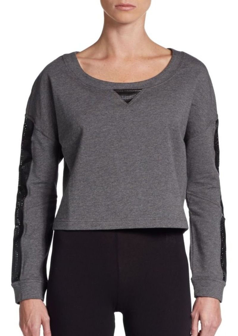 Betsey Johnson Faux leather-Detail Pullover