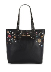 Betsey Johnson Faux Leather Jewel Embellished Tote