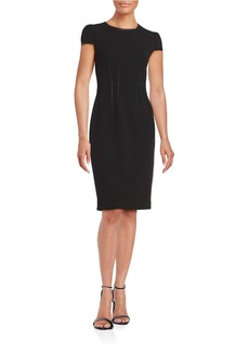 BETSEY JOHNSON Faux Leather-Trimmed Sheath Dress