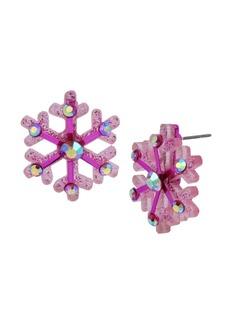 Betsey Johnson Festive Snowflake Button Earrings