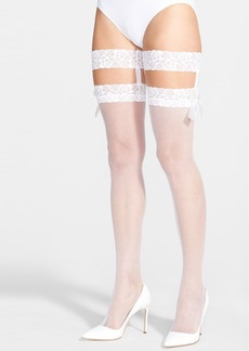 Betsey Johnson Fishnet Thigh High Stockings with Lace Garters