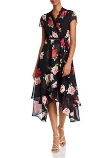 Betsey Johnson Floating Roses Faux Wrap-Front Dress