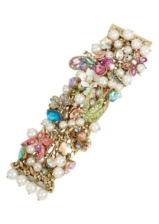 Betsey Johnson Floral and Faux Pearl Statement Bracelet