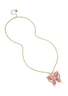 Betsey Johnson Floral Crystal Butterfly Pendant Long Necklace