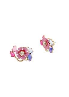 Betsey Johnson Floral Crystal Cluster Stud Earrings