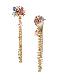 Betsey Johnson Floral Crystal Multi Chain Linear Earrings