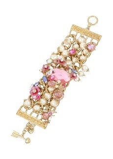 Betsey Johnson Floral Faux Pearl and Crystal Gem and Flower Wide Toggle Bracelet