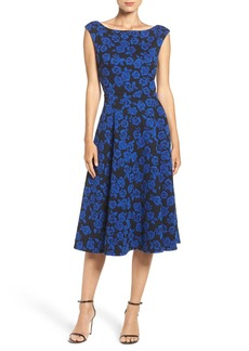 Betsey Johnson Floral Jacquard Fit & Flare Midi Dress