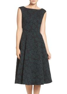 Betsey Johnson Floral Jacquard Fit & Flare Midi Dress