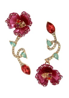Betsey Johnson Floral Mismatch Earrings