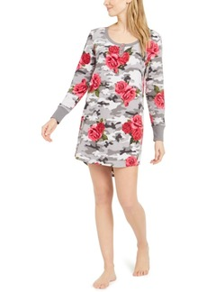 Betsey Johnson Floral-Print Henley Fleece Sleep Shirt