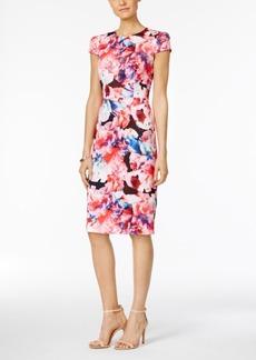 Betsey Johnson Floral-Print Scuba Midi Sheath Dress