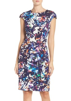Betsey Johnson Floral Print Scuba Sheath Dress